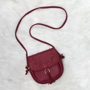 Lionel  Wine Tassel Leather Crossbody Bag Purse